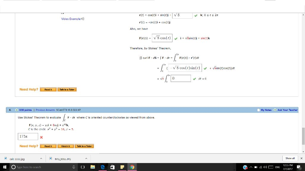Also, We Have F(r(t)) = Squareroot 8 Cos (t) I + S... | Chegg.com