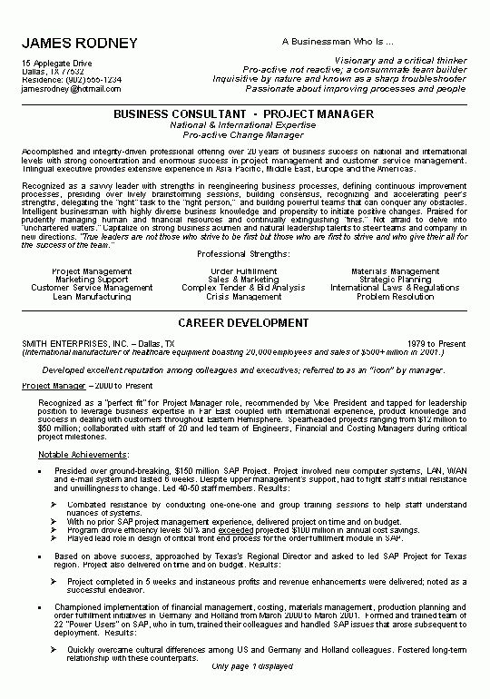 Business Resume Example - Sample