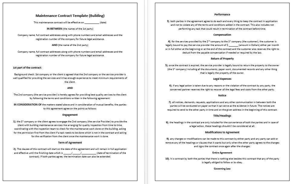 Building Maintenance Contract Template – Microsoft Word Templates