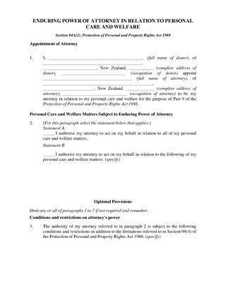New Zealand Power of Attorney Forms | Legal Forms and Business ...