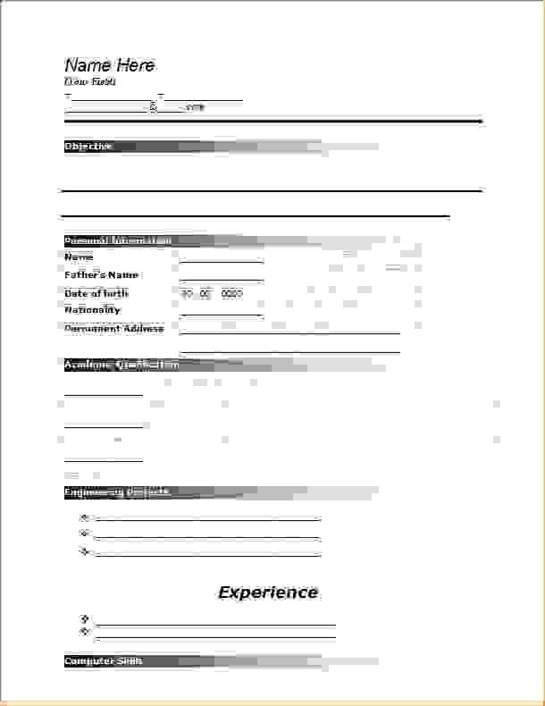 blank job application template word