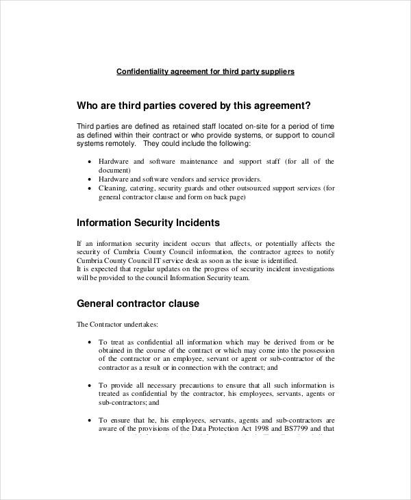 11+ Basic Confidentiality Agreement Templates – Free Sample ...