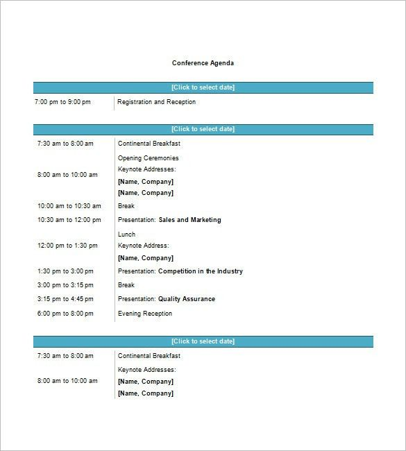 Sample Conference Schedule Template. Meeting Agenda Format ...