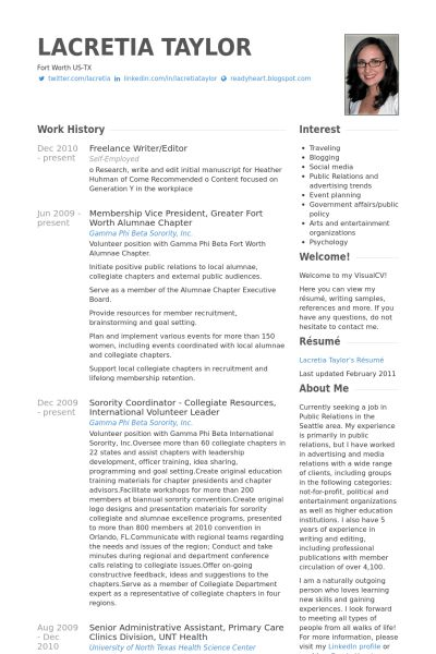 Writer/Editor Resume samples - VisualCV resume samples database