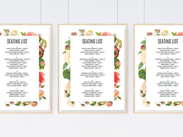 47 best Wedding Seating Chart Templates images on Pinterest ...