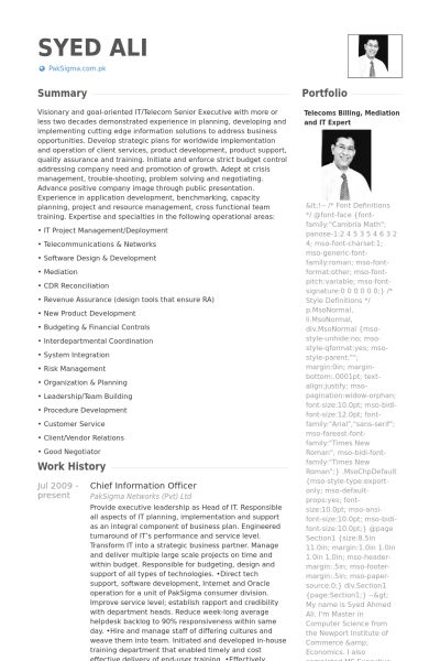 Chief Information Officer Resume samples - VisualCV resume samples ...