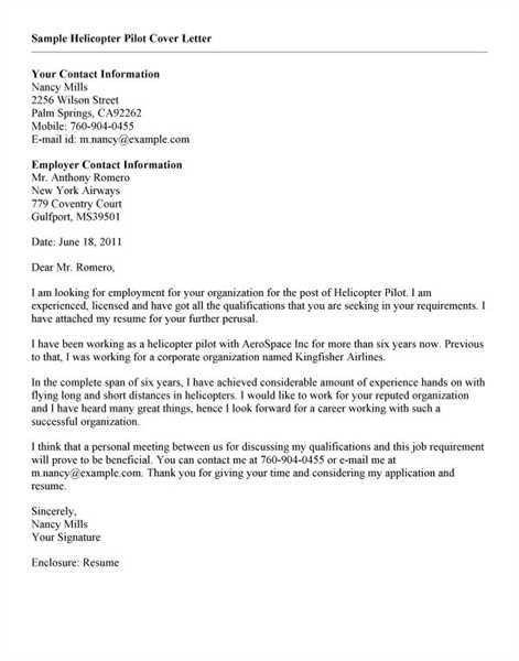 1. Sample Airline Pilot Cover Letter