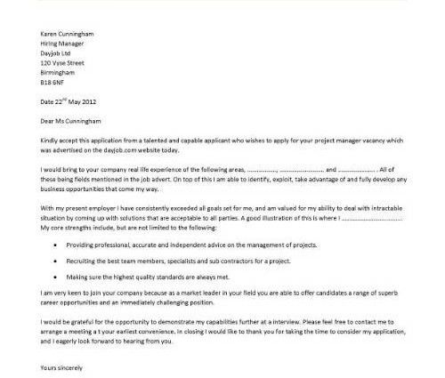 construction project manager cover letter project manager cover ...