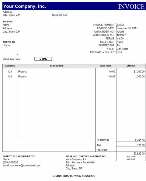 5 Excel Invoice Templates Free Download