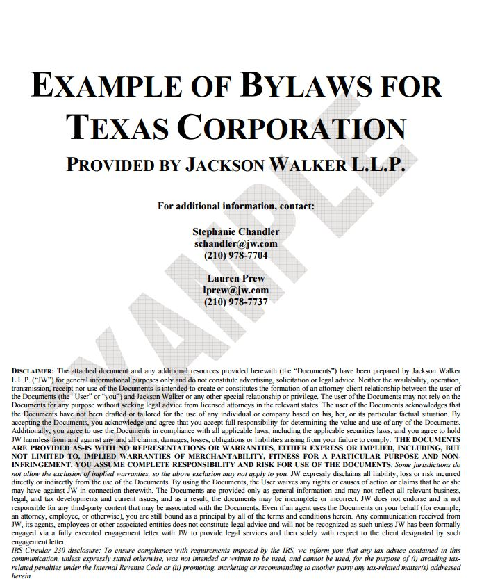 Corporate Bylaws Template | Free Word Templates