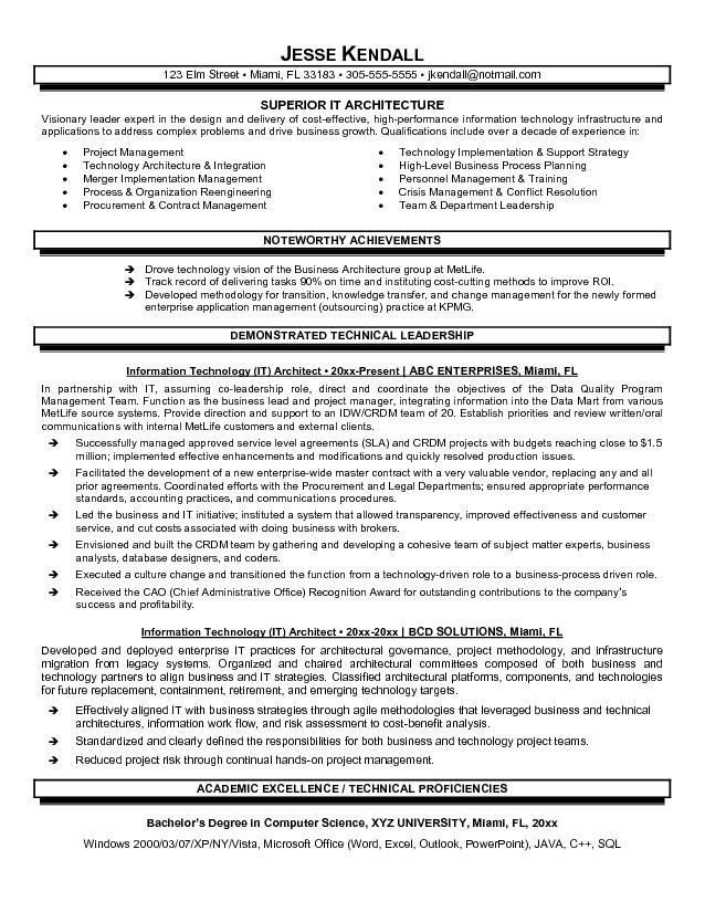 Superior IT Architect Resume Template Sample with Achievements and ...