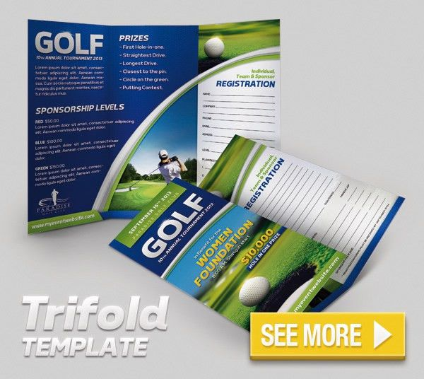 Golf Event Flyer and Badge Template by Nobic | GraphicRiver