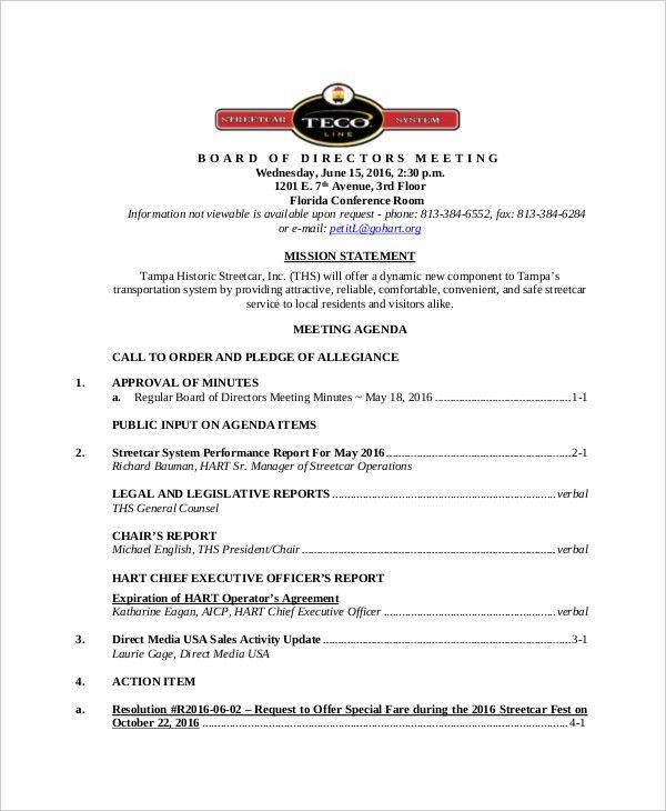 12+ Board of Directors Meeting Agenda Templates – Free Sample ...