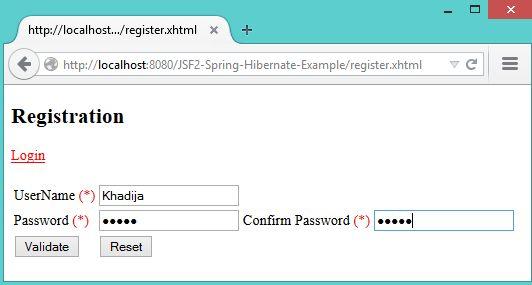 JSF 2 Spring Hibernate Example - KeyLesson