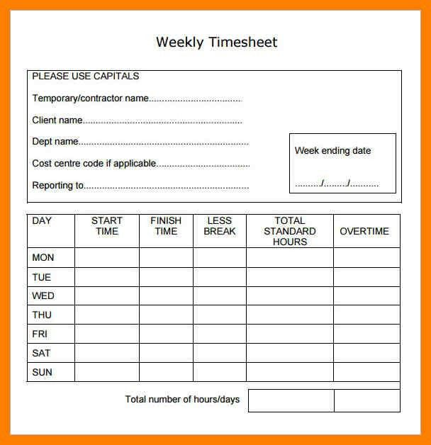 6+ free weekly timesheet template | lab report format