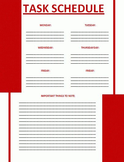 Task Schedule Template | All Free Word Templates