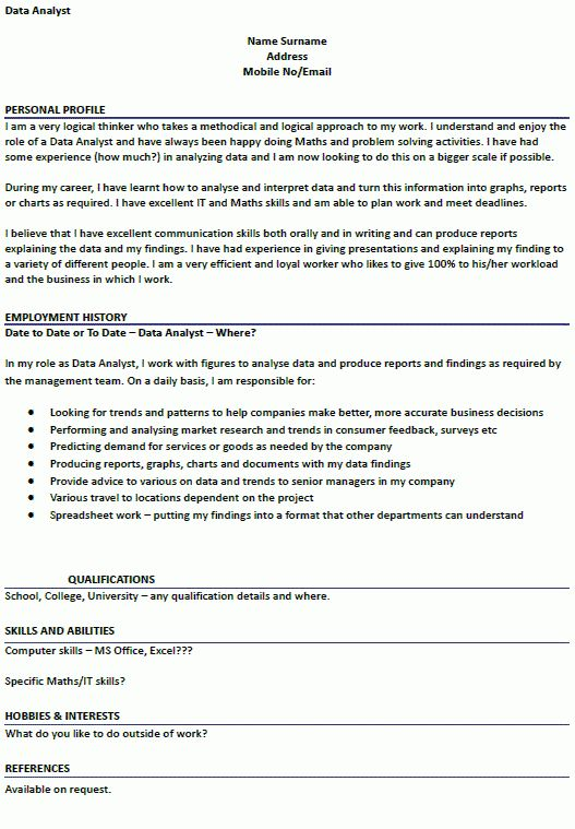 CV Example for Data Analyst - lettercv.com