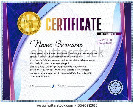 Certificate Blank Template Light Soft Design Stock Vector ...