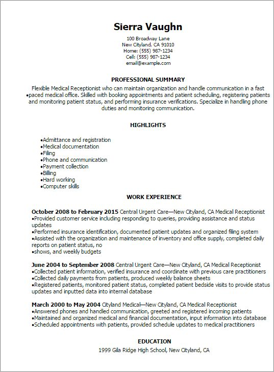 professional medical receptionist resume templates to showcase - Resume Sample Receptionist
