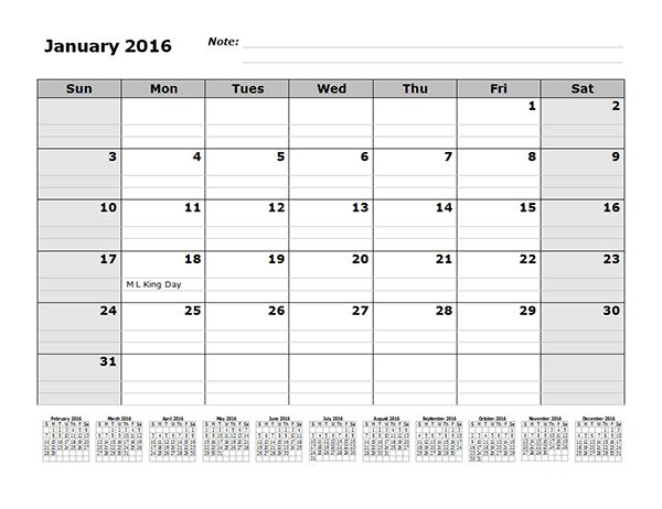 2016 Monthly Calendar Template with 12 Months References - Free ...