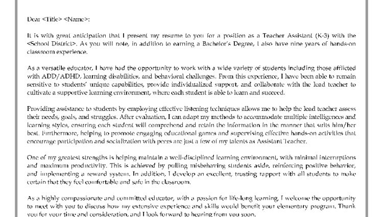 Teacher Assistant Cover Letter Sample Sample Cover Letter for ...