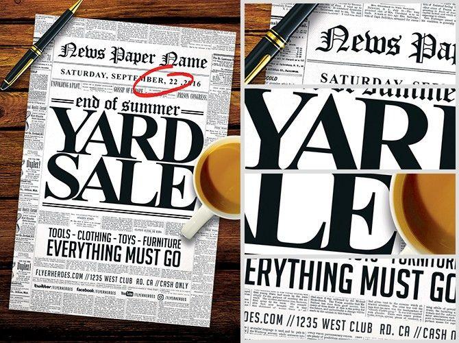 Read all about it! Yard Sale Flyer Template - FlyerHeroes