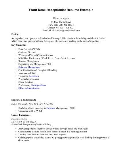 Redoubtable Medical Front Desk Resume 12 Front Office Resume ...
