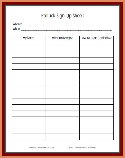 Potluck Signup Sheet Template.potluck Signup Sheet Template ...