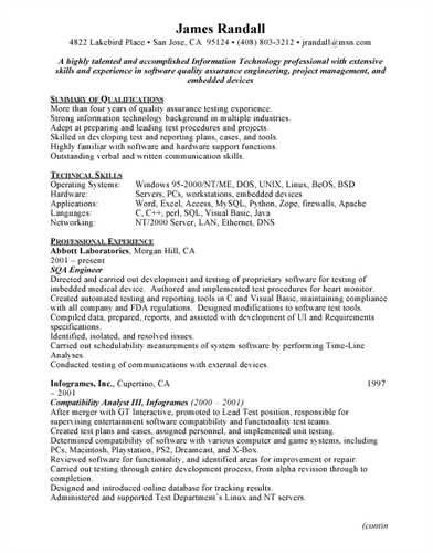 Qa Resume Sample | jennywashere.com