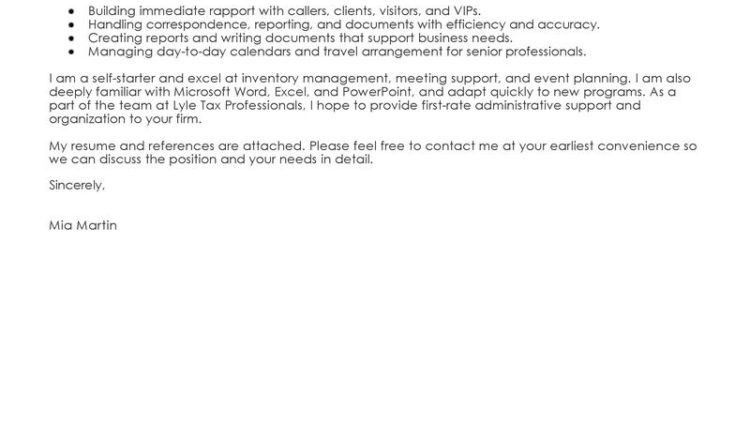 Administrative Assistant Cover Letter Sample administrative ...