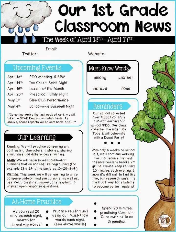 Editable Newsletter Templates | Newsletter templates, School and ...