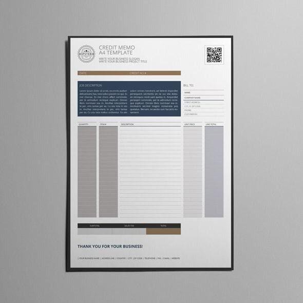 Credit Memo US Letter Format Template
