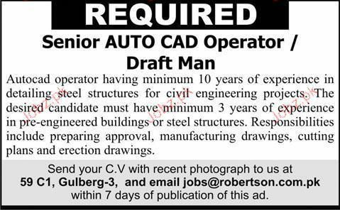 Senior Autocad Operator / Draft Man Job Opportunity 2017 Jobs ...