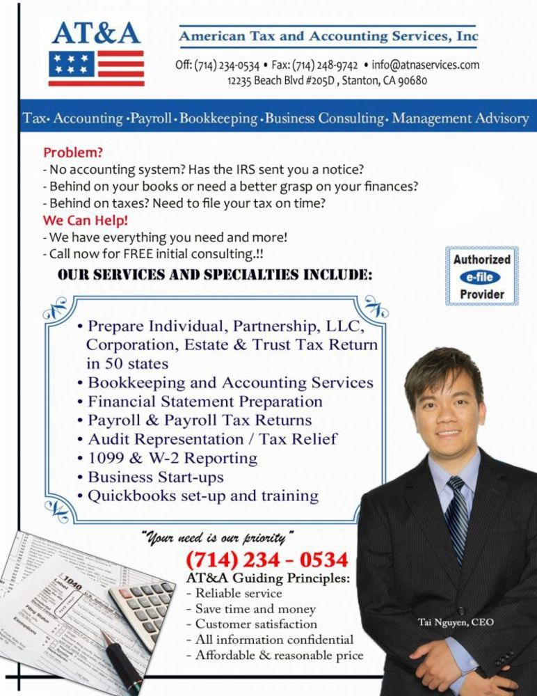 Tax, Accounting & Bookkeeping Services in Stanton, CA - AT&A ...