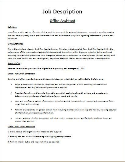 Job Description Form Sample DOWNLOAD at http://www.bizworksheets ...