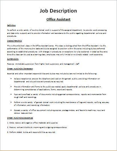Job Description Form Sample DOWNLOAD at http://www.bizworksheets ...