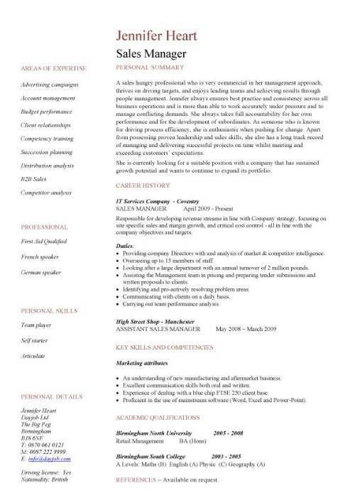 Resume Samples For Sales Manager | Free Resumes Tips