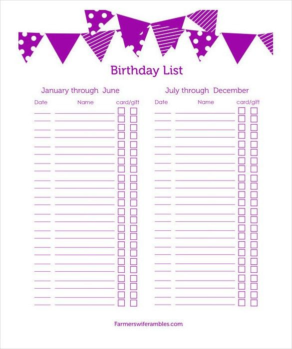 23+ Birthday List Templates – Free Sample, Example, Format ...