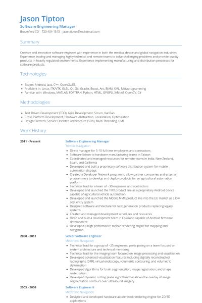 Engineering Manager Resume samples - VisualCV resume samples database