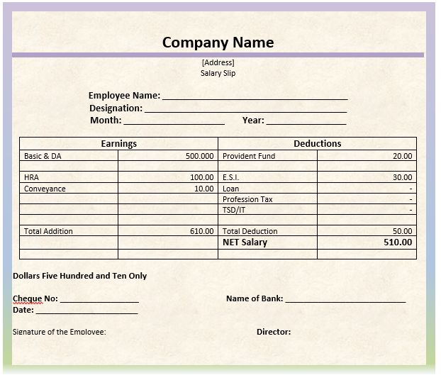 Perfect Sample of Monthly Salary Slip Template with Earnings and ...