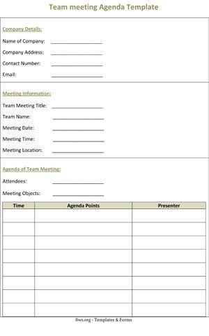 Team meeting Agenda Template | 8ws - Templates & Forms