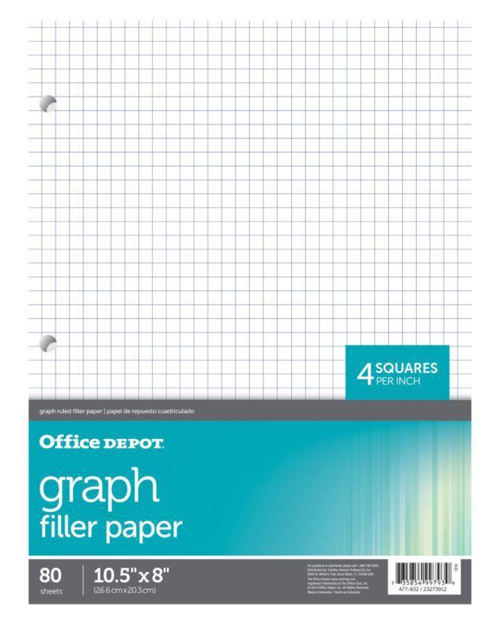 Office Depot Brand Quadrille Ruled Notebook Filler Paper 8 x 10 12 ...