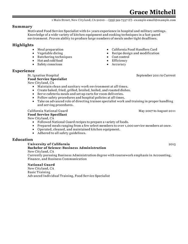 Fancy Idea Food Service Worker Resume 6 Sample Resume For A Food ...