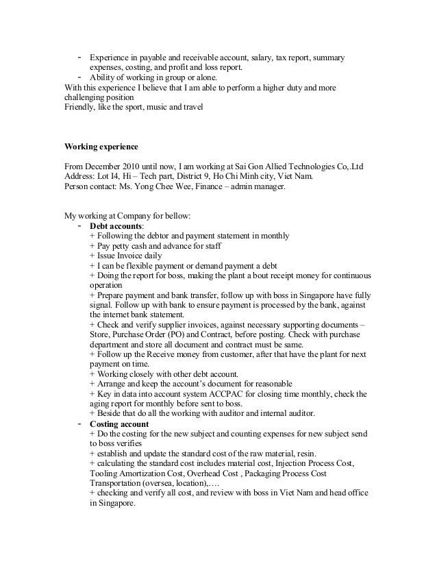 professional resume for accountant
