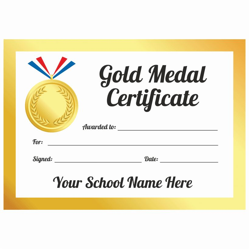 Sports Day Gold Medal Certificates | School Stickers