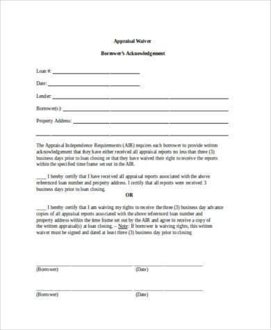 Appraisal Waiver Form Samples - 7+ Free Documents in Word, PDF