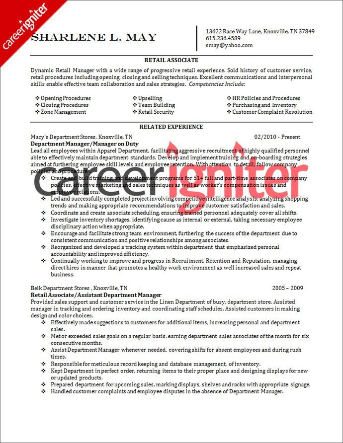 store associate resume sample template for retail manager sales ...