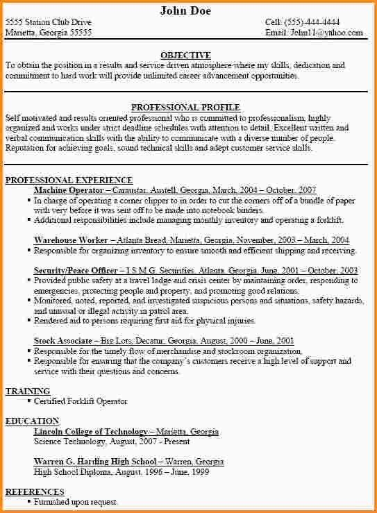10+ machine operator resume | mac resume template