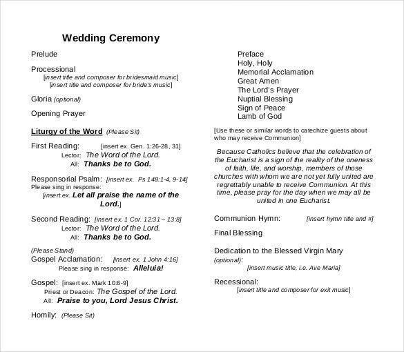Wedding Ceremony Program Template – 31+ Word, PDF, PSD InDesign ...