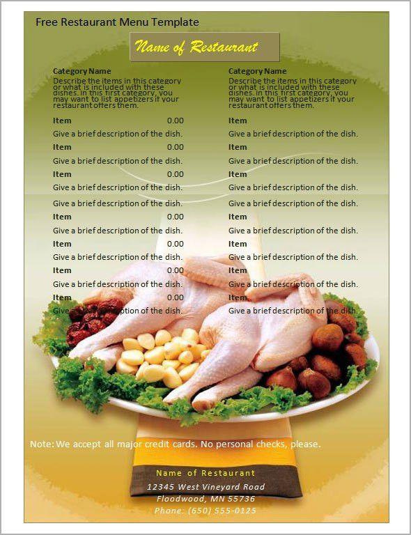 5+ Free Restaurant Menu Templates - Excel PDF Formats